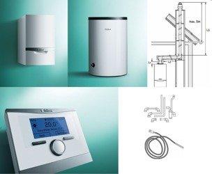 PAKIET Kocioł ecoTEC plus VC 256/5-5 + zasobnik VIH R 150 + regulator multiMATIC 700f  bezprzewodowy + zestaw kominowy (wyprowadzenie w szacht) + zestaw przyłączeniowy zasobnika
